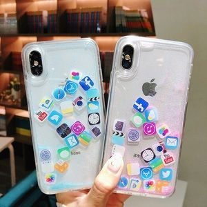 5⭐️ NEW Floating Icon Shockproof Iphone X Case